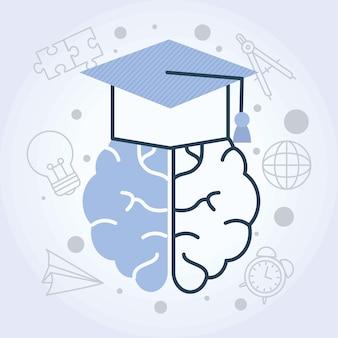 Cerebro con ilustración de gorro de graduación