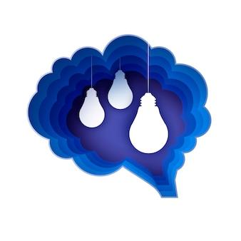 Cerebro y lámparas de luz. bombilla en estilo artesanal de papel. bombilla eléctrica de origami para creatividad, puesta en marcha, lluvia de ideas, negocios. marco azul de forma de cerebro. idea. .
