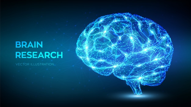 Cerebro. bajo poligonal abstracto cerebro humano digital. concepto de tecnología de ciencia de emulación virtual de inteligencia artificial.