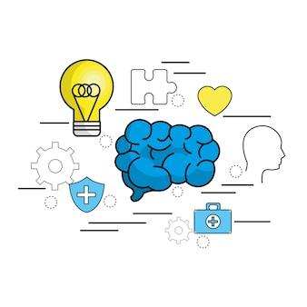 Cerebro de salud mental con consejos de cuidado