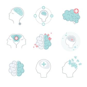 Cerebro y salud mental iconos conjunto de vectores