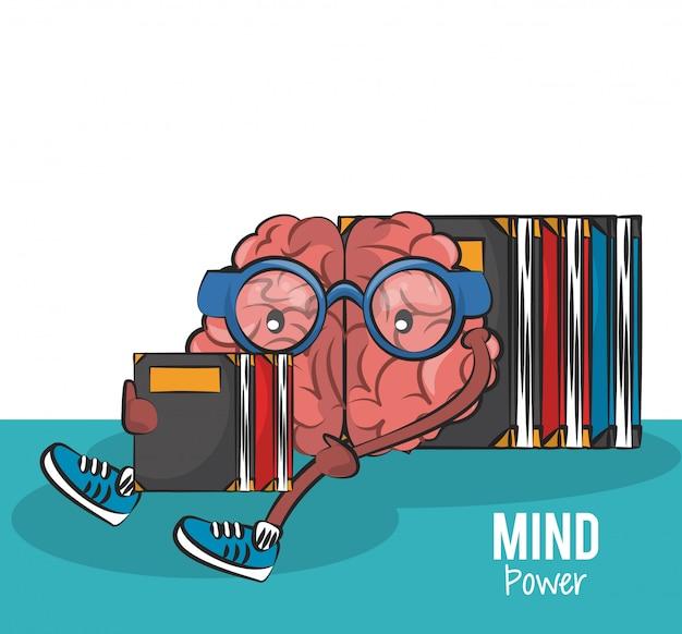 Cerebro sentado y leyendo libros vector ilustración diseño gráfico ...