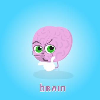 Cerebro usando gafas sonriente personaje de dibujos animados icono banner