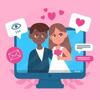 Ceremonia de boda en línea con cónyuges