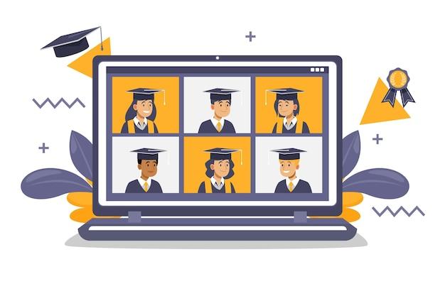 Ceremonia de graduación virtual en computadora portátil