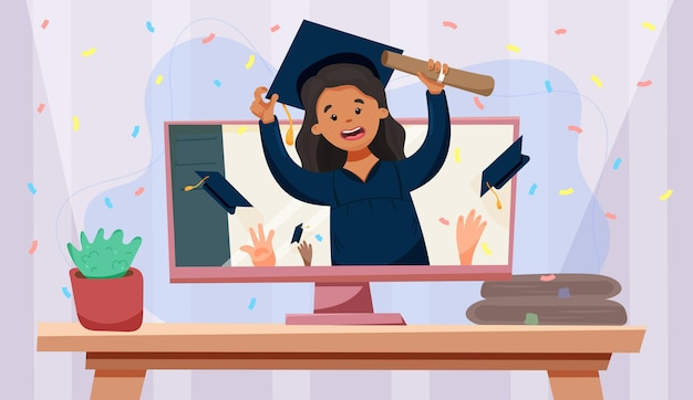 Ceremonia de graduación virtual videollamada graduación de niña negra en línea