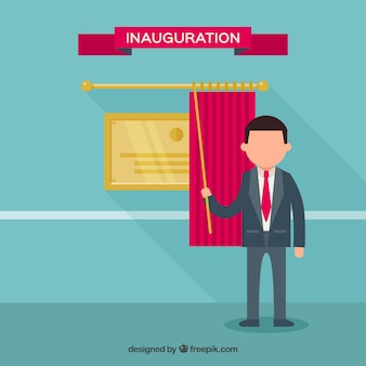 Ceremonia de inauguración elegante con personaje