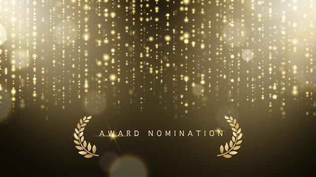 Ceremonia de nominación al premio de vector de lujo con brillo dorado brilla corona de laurel y bokeh