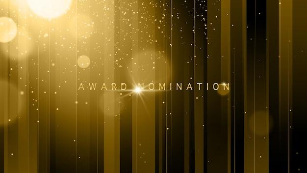 Ceremonia de nominación de premios de vector de lujo con brillo dorado brilla líneas y bokeh