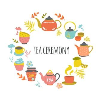 Ceremonia del té dibujado a mano diseño redondo