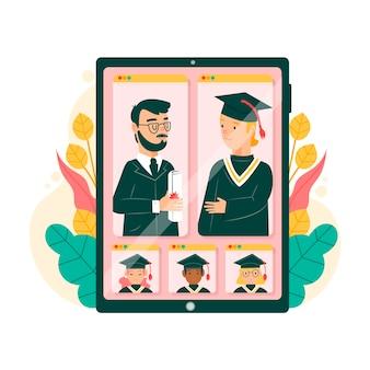 Ceremonia virtual de graduación con becarios