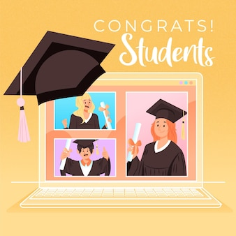 Ceremonia virtual de graduación con computadora portátil y estudiantes