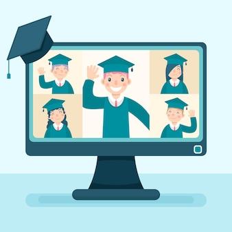 Ceremonia virtual de graduación con computadora