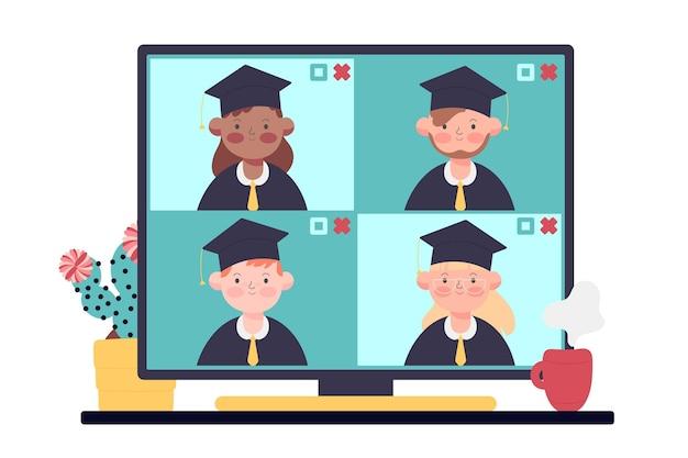 Ceremonia virtual de graduación con estudiantes