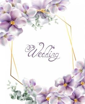 Cereza flores acuarela tarjeta de boda