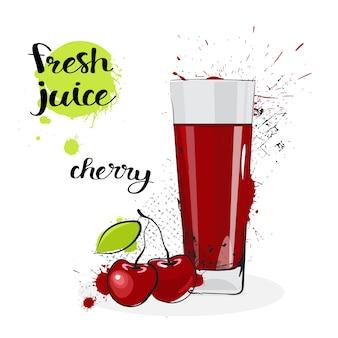 Cereza jugo fresco dibujado a mano acuarela fruta y vidrio sobre fondo blanco