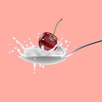 Cereza roja y con leche salpicando en cuchara, yogurt.