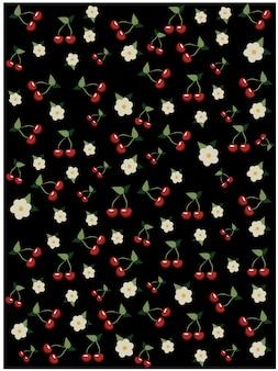 Cerezas y patrón de flor de cerezo sobre fondo negro. arbol de sakura