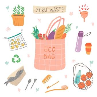 Cero desperdicio colorido conjunto de elementos ilustración. vaya verde, estilo ecológico, bolsa ecológica, sin plástico, salve el planeta. reciclar la protección ecológica.
