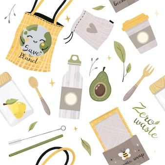 Cero desperdicio es un patrón sin fisuras. ir verde. artículos o productos duraderos y reutilizables.