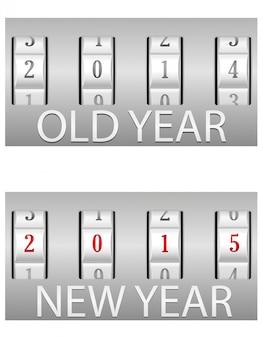 Cerradura de combinación antigua y año nuevo.