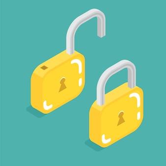 Cerradura isométrica cerrada y abierta