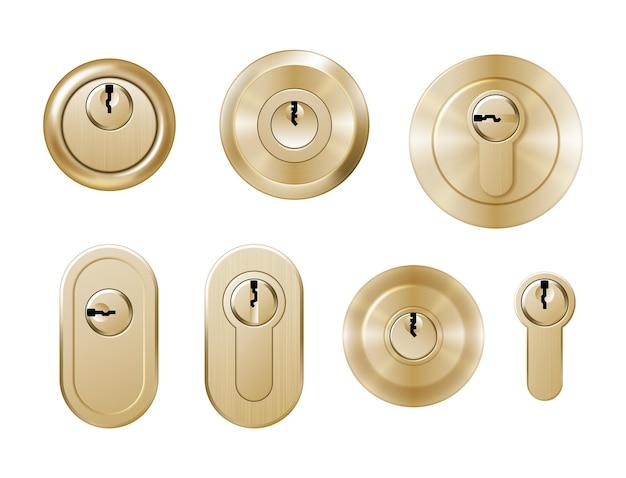 Cerraduras doradas para manijas de puertas.