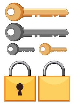 Cerraduras y llaves en el fondo blanco