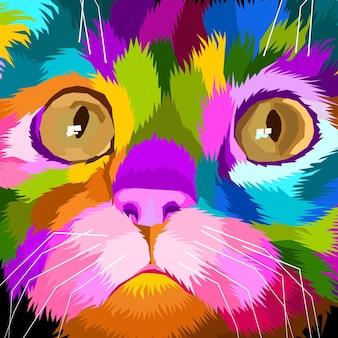 Cerrar diseño de carteles de retrato de arte pop de gato colorido