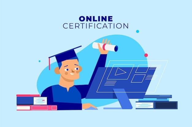 Certificación en línea con computadora y graduados