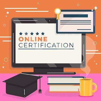 Certificación en línea con computadora y libros
