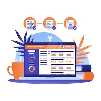 Certificación en línea con computadora portátil y escritorio