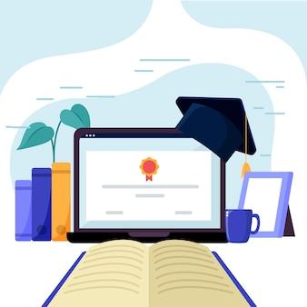 Certificación en línea con computadora portátil y libro