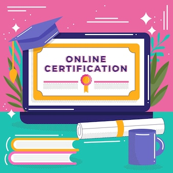 Certificación en línea con laptop y libros.