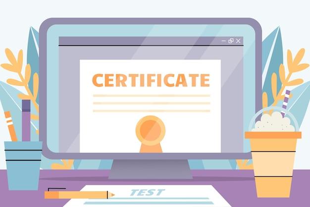 Certificación en línea con laptop