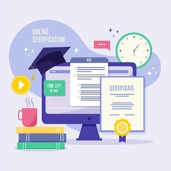 Certificación en línea con libros y computadora