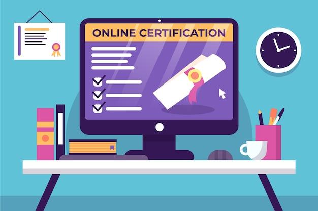 Certificación en línea y oficina con libros.