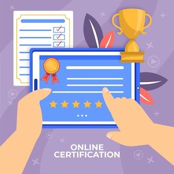 Certificación en línea con tenencia de personaje virtual
