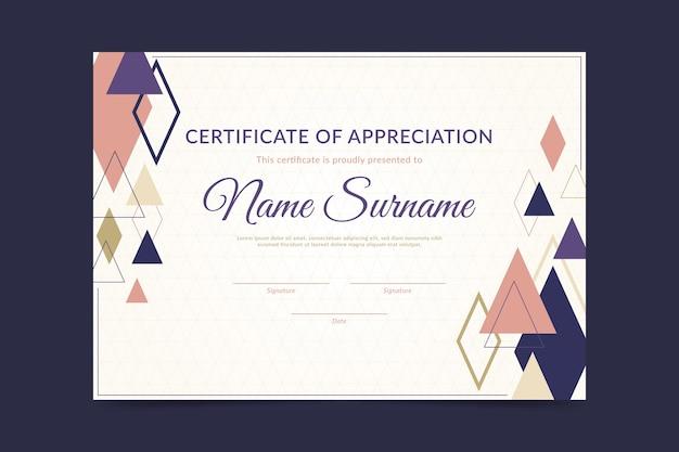 Certificado abstracto con diseño geométrico