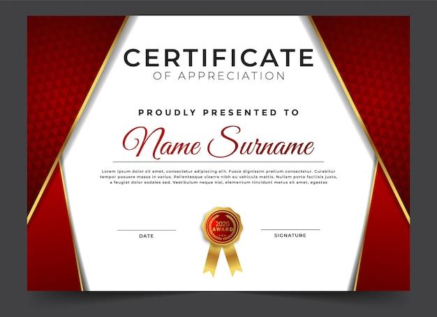 Certificado abstracto de plantilla de diseño de apreciación