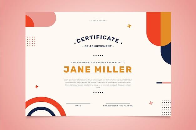 Certificado académico moderno de diseño plano