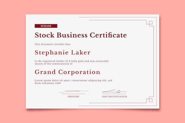 Certificado de acciones comerciales simples y elegantes