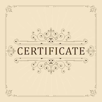 Certificado de adorno vintage