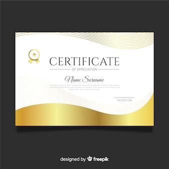 Certificado de agradecimiento dorado