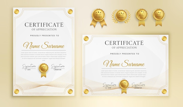 Certificado de agradecimiento finalización línea ondulada dorada y plantilla de borde
