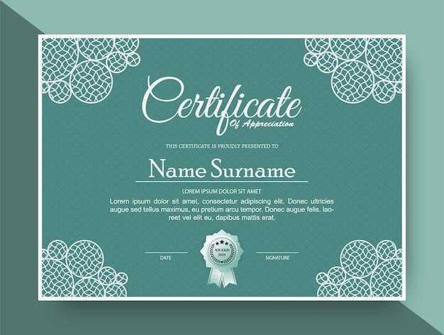 Certificado de agradecimiento mejor diploma de premio