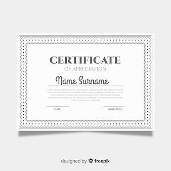 Certificado de agradecimiento ornamental