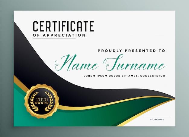 Certificado de apreciar plantilla dorada moderna