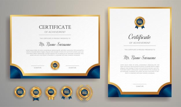 Certificado azul y dorado con insignia y plantilla de borde a4 para necesidades de premios, negocios y educación.