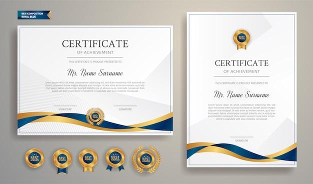 Certificado azul y dorado con insignia y plantilla de borde. para premios, negocios y necesidades educativas